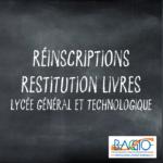 PLANNING RÉINSCRIPTIONS & RESTITUTION LIVRES – LGT
